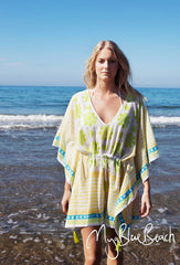Buy plus size beachwear in UK ,Cotton Beach poncho style of  beach kaftans by designer kaftan brand myabluebeach shipping and buy to USA  plus size beachwear