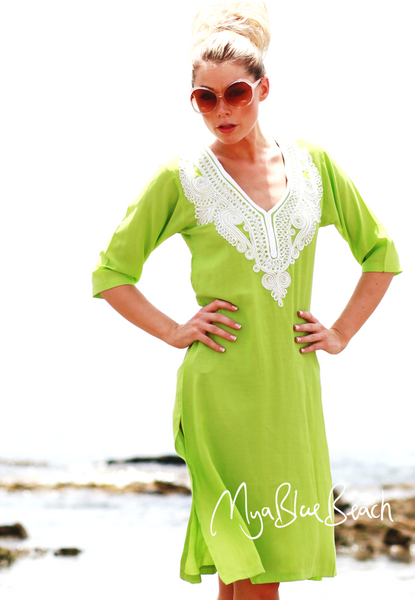 JEMMA: Fitted Cotton Beach Kaftan Coverups £25 Free Shipping