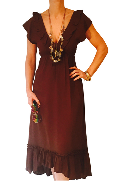 CARRIE - Brown V Neck Kaftan Dress