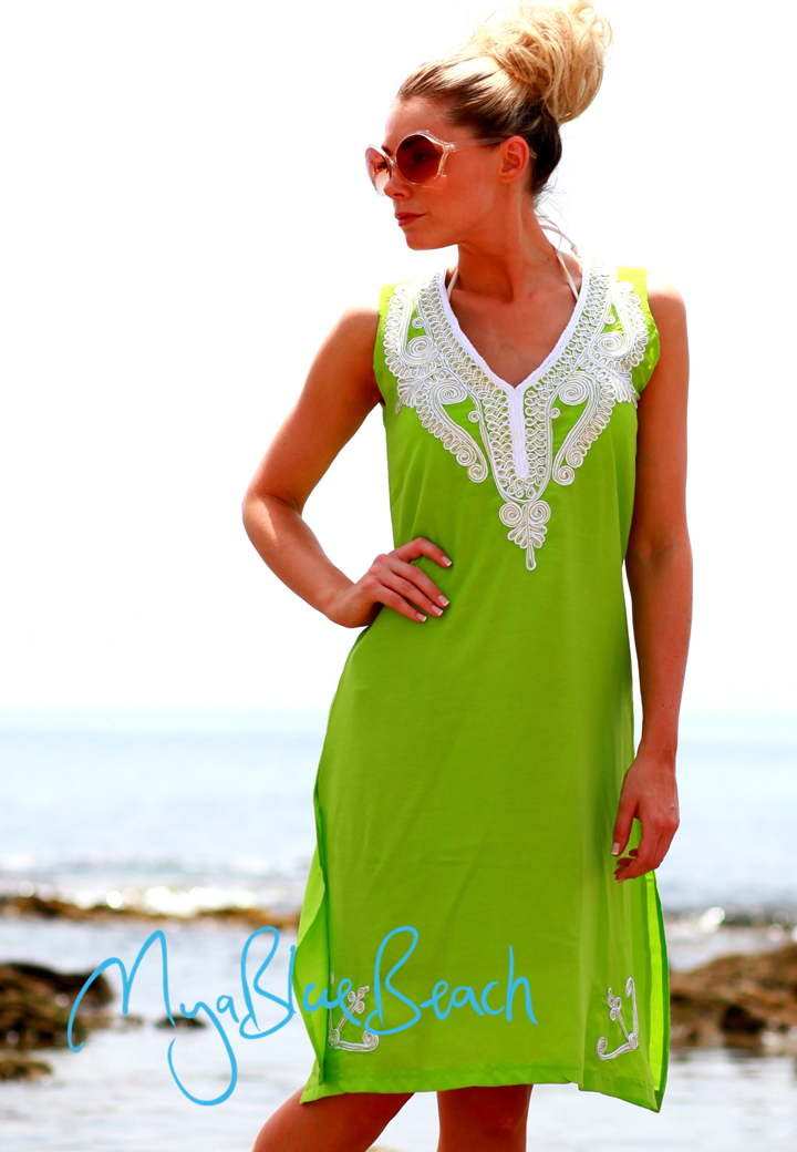 blue sleevelesss cotton cover-up pink cotton coverups, lime beachwear coverup by myabluebeach . Designer kaftans, sale beach tops