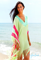 Avocado lime beach kaftan, fringed designer beach kaftans in soft light cotton
