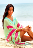 fringed kaftan in soft cotton in avocado lime colour. Shop beach kaftans in UK