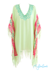 Lime fringed beach kaftan, one size flattering holiday beach kaftan. Shop UK