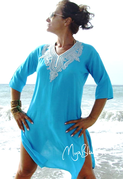 JEMMA: Turquoise Fitted Cotton Beach Kaftan £25