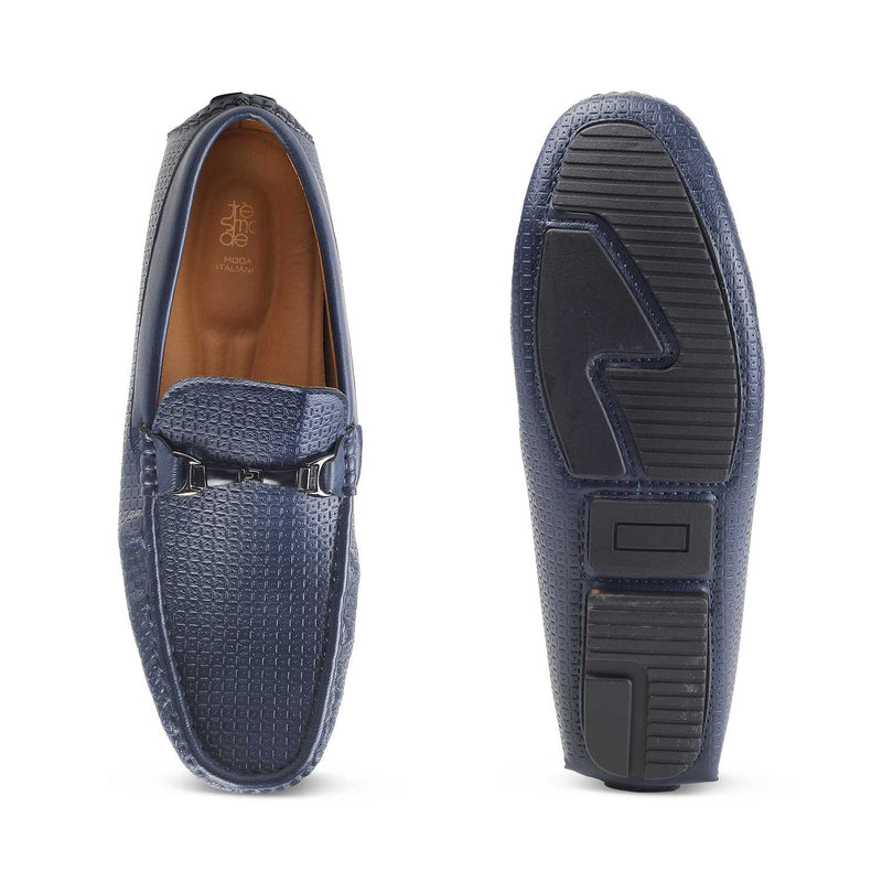 The McArthur-1 Blue - Blue textured loafers for men - Tresmode