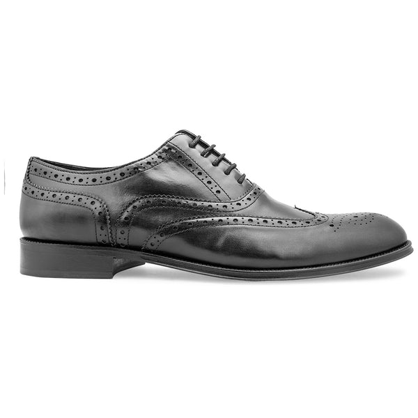 The Brandon BlackWingtip Full Brogue Black Oxfords - Tresmode