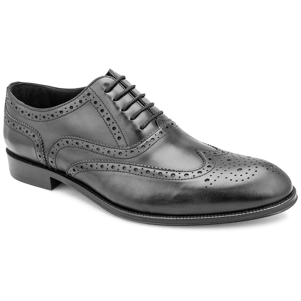 The Brandon Black - Wingtip Full Brogue Black Oxfords - Tresmode