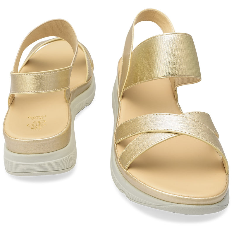 The Romi Gold Strappy Flatforms