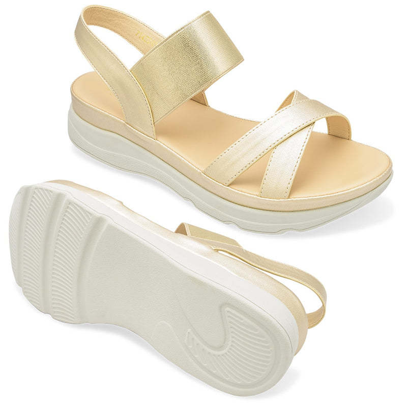 The Romi Gold - Gold Strappy Flatforms - Tresmode