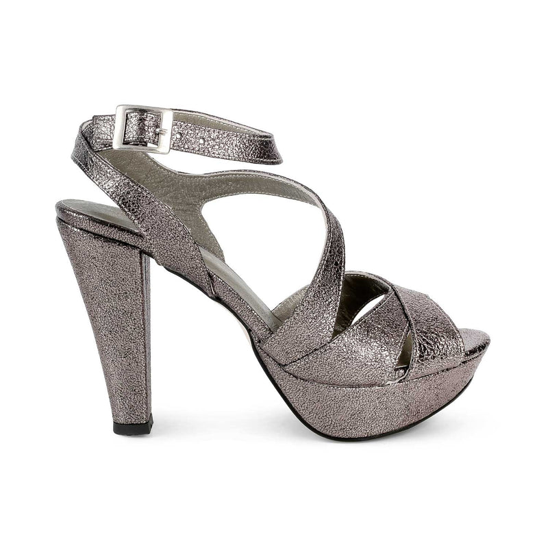 The Dalilah Pewter Textured Peep Toe Platform Sandals