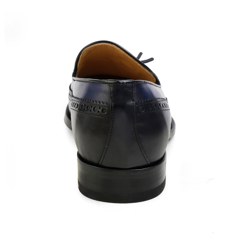 The Vincentius Blue Tassel Loafers With Wing Tip