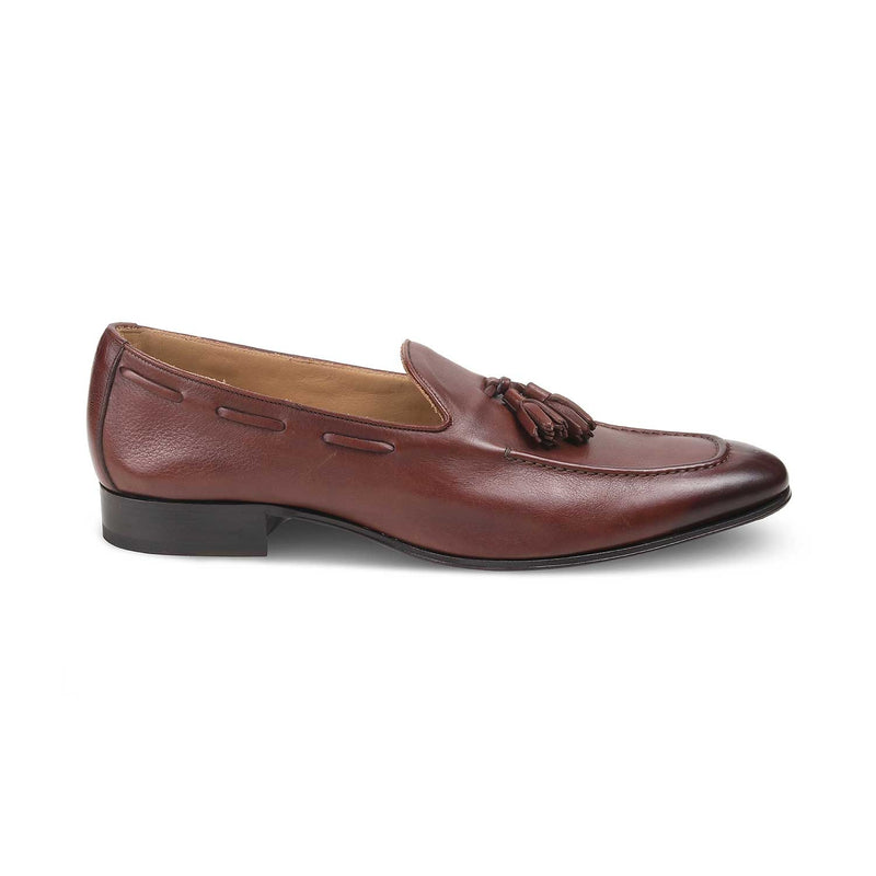 The Massimo Brown - Brown Tassel Loafers With Apron Toe - Tresmode