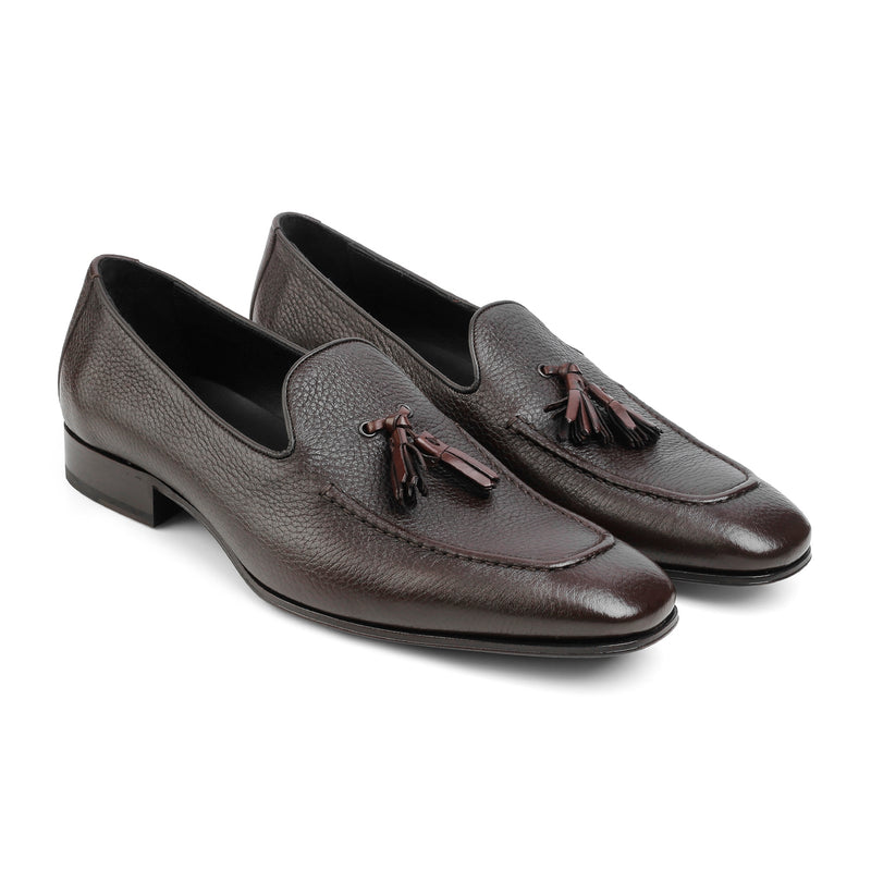 The Mossimo Brown - Brown Tassel Loafers With Apron Toe - Tresmode