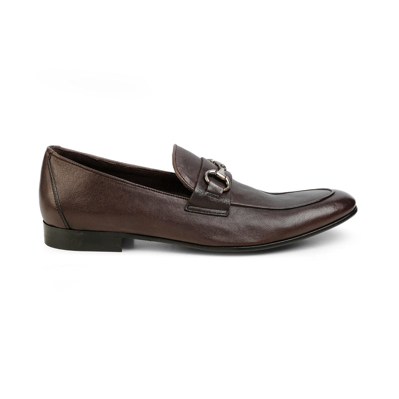 The Stephano Brown Horse-Bit Soft Leather Loafers