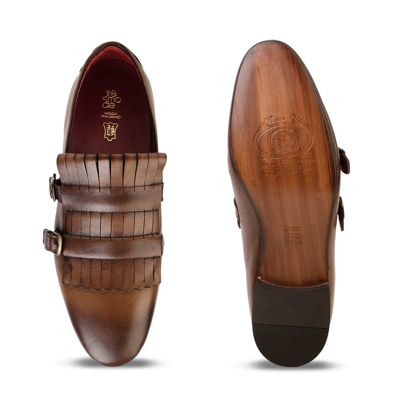 The Tolga Brown double monk Kiltie loafers