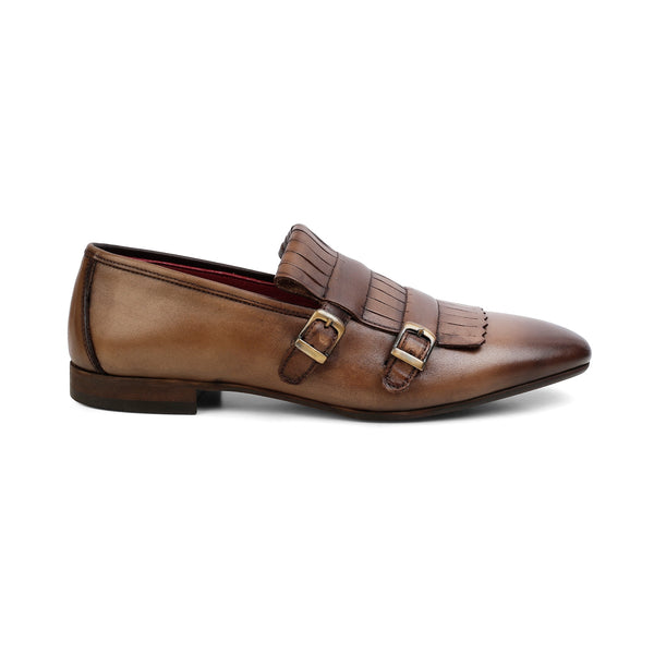 The Tolga Brown - Brown double monk Kiltie loafers - Tresmode