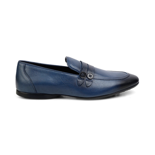 The Edoardo Blue - Blue loafers with apron toe - Tresmode