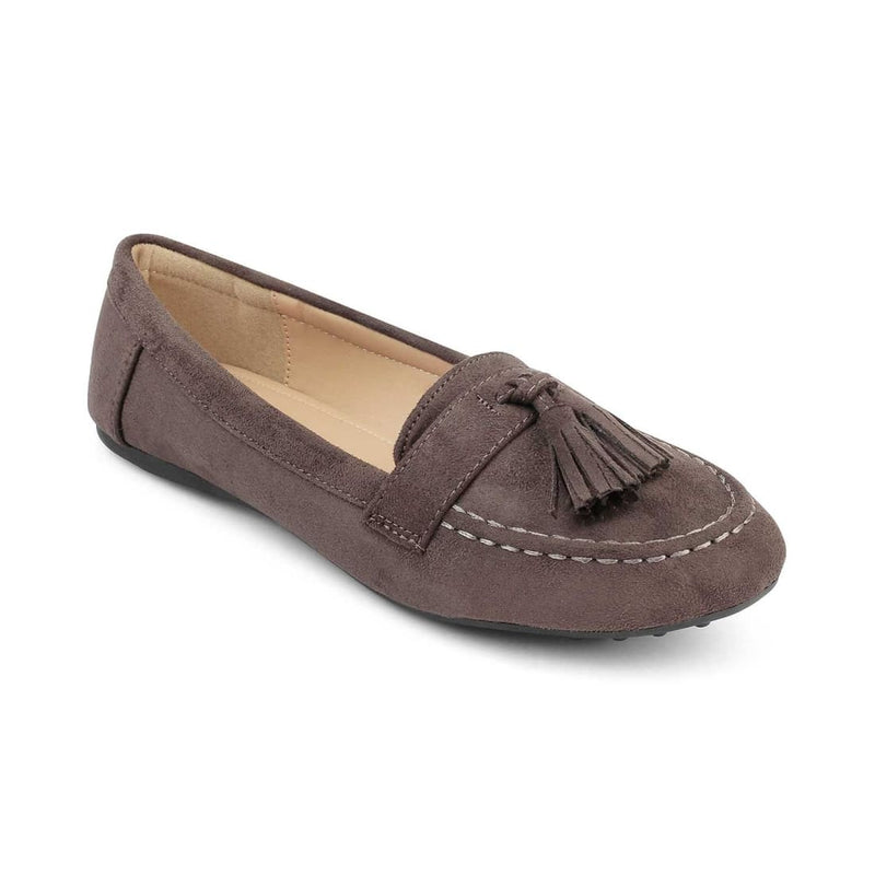 Felize-1 Grey - Grey Suede Leather Loafers with Tassel - Tresmode