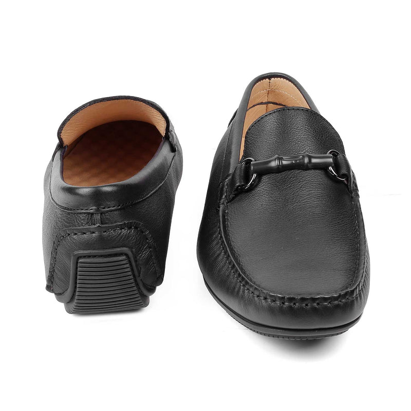 The Autun Black driving loafers with buckle detail