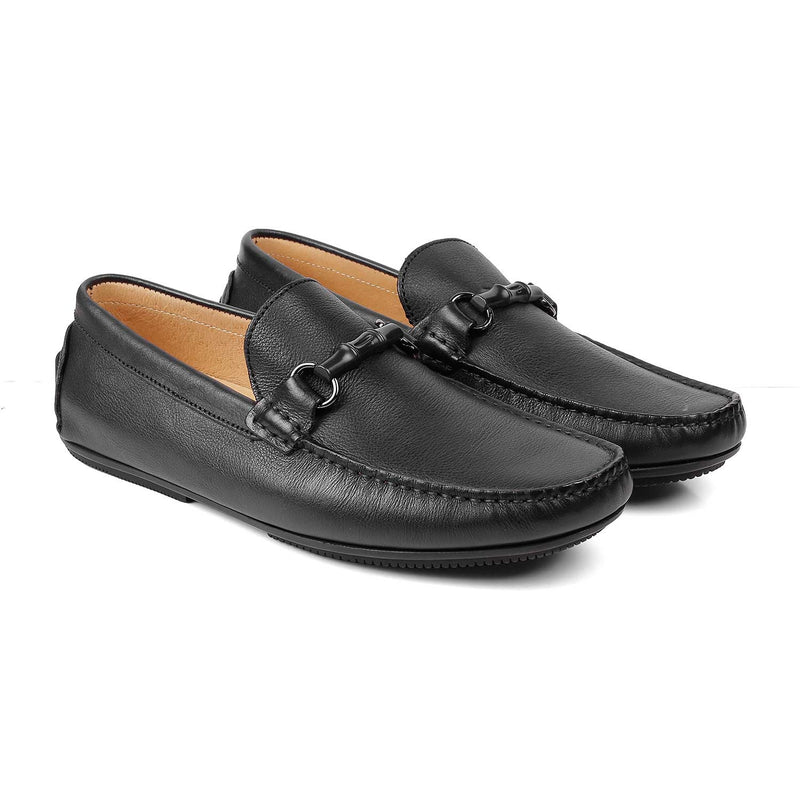 The Autun Black - Black driving loafers with buckle detail - Tresmode