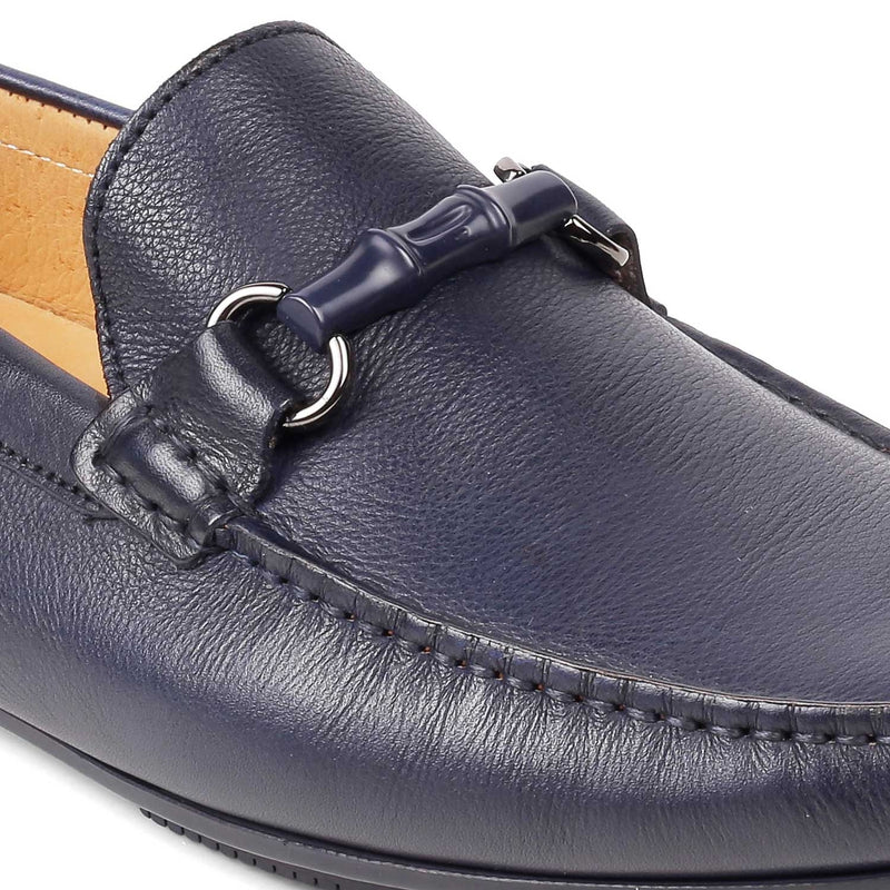 The Autun BlueBlue driving loafers with buckle detail - Tresmode