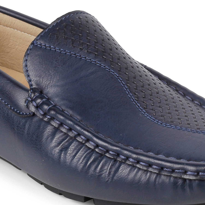 Blue driving loafers with self pattern-The Bismark Blue-Tresmode