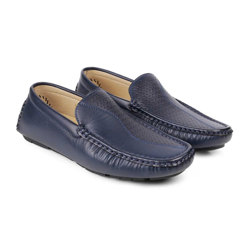 The Bismark Blue driving loafers with self pattern