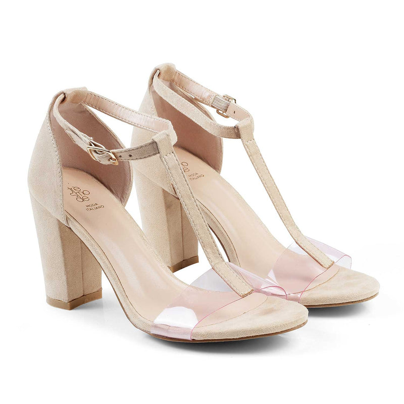 The Genoa Beige - Beige Block heel sandals - Tresmode