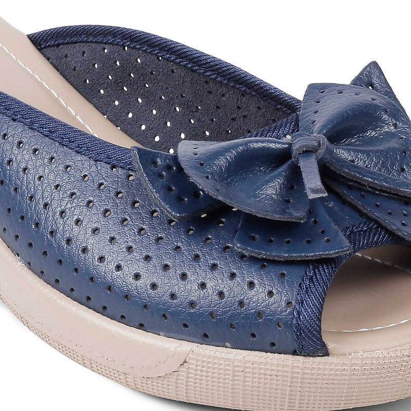 Blue slip-on wedge heel sandals with bow detail-The Vilko Blue-Tresmode
