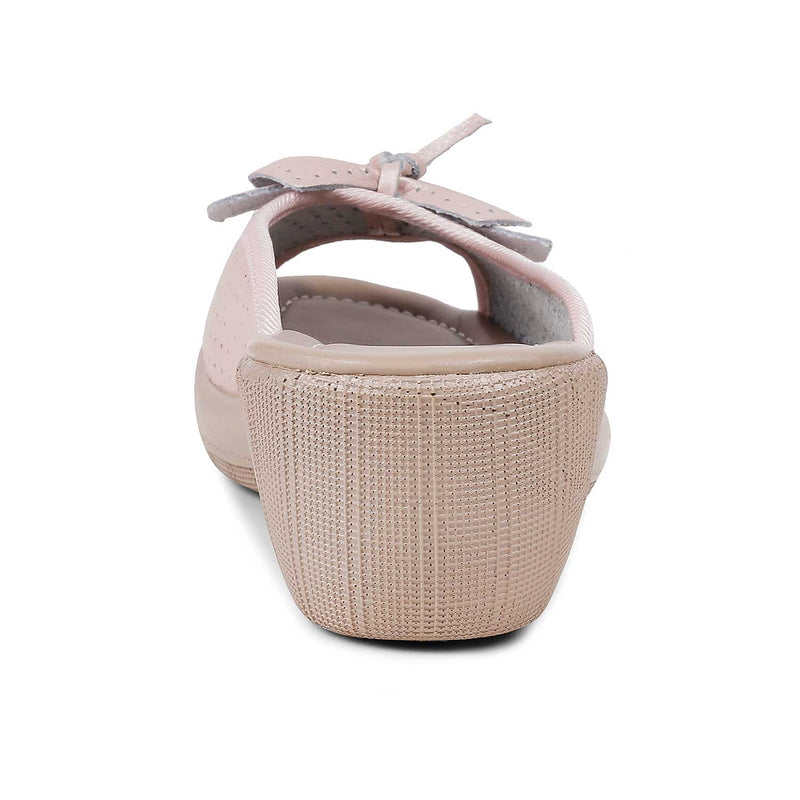 The Vilko PinkPink slip-on wedge heel sandals with bow detail - Tresmode
