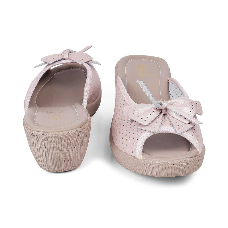 The Vilko Pink slip-on wedge heel sandals with bow detail