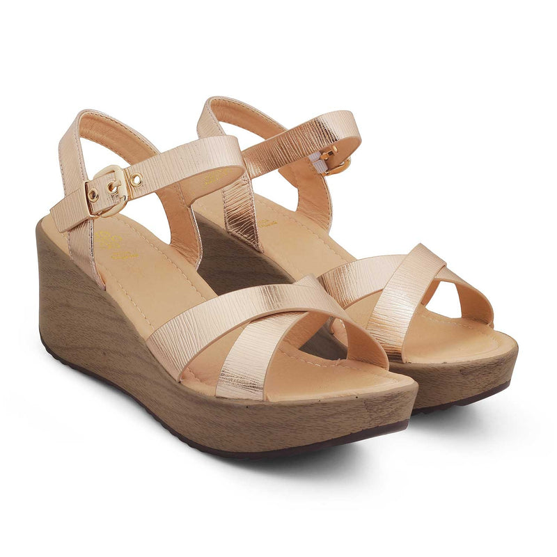 The Heredge Rose GoldRose gold wedge heel sandals - Tresmode