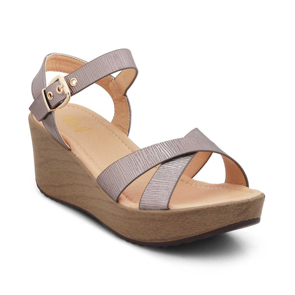 The Heredge Pewter - Pewter wedge heel sandals - Tresmode