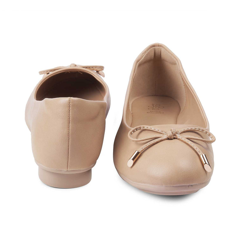 Beige ballet flats for women-The Herling Beige-Tresmode