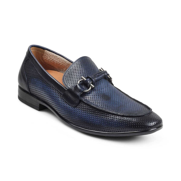 The Izmir Blue - Blue loafers with buckle detail - Tresmode