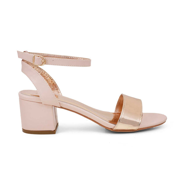 The Kasugai Rose Gold - Rose gold block heel sandals with front ankle strap - Tresmode