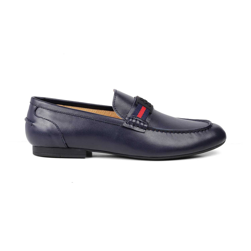 The Macon Blue - Blue loafers with logo hardware - Tresmode