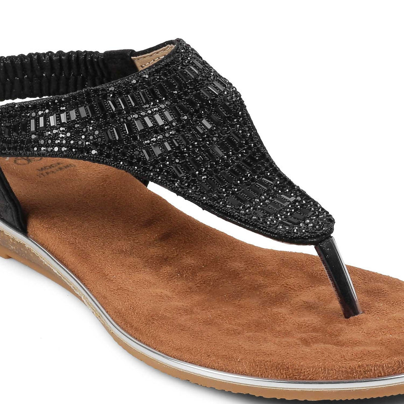 The Monaco Black Flat Sandals For Women
