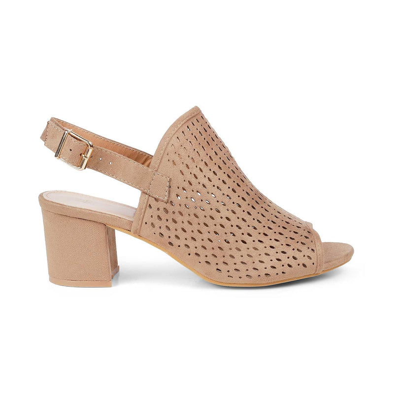 The Romanov Beige Sandals with block heel and laser cut