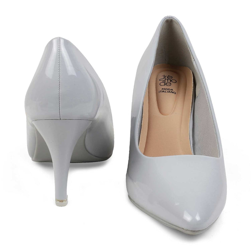 The Myst Grey - Grey Pumps With Patent Finish - Tresmode