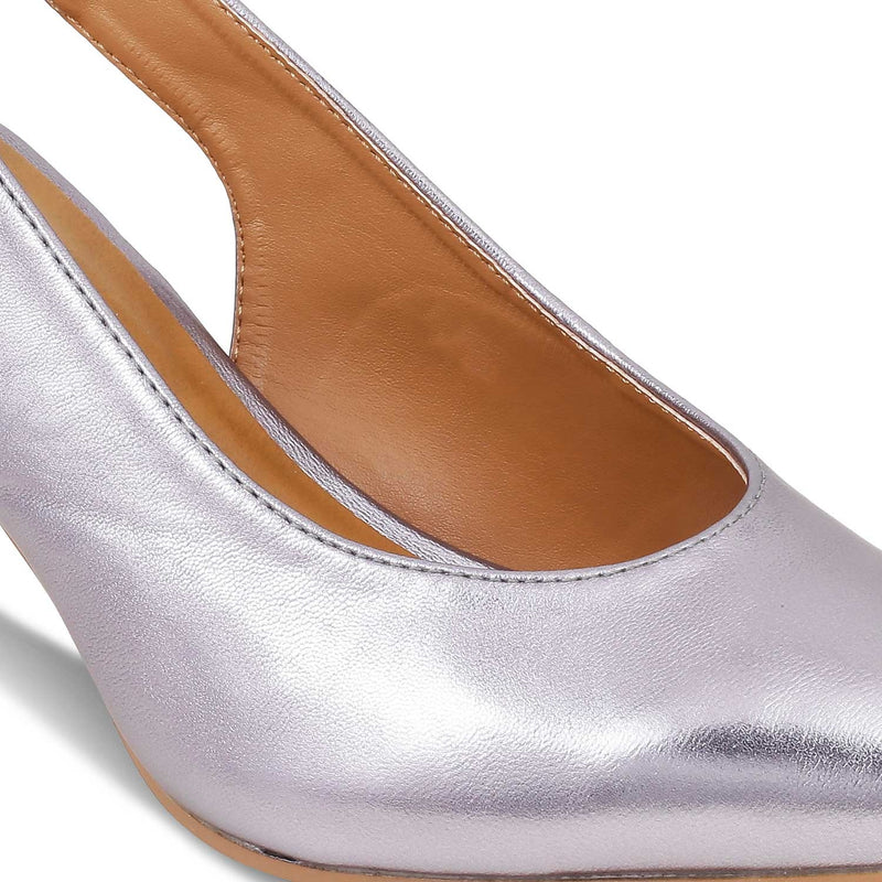 The Nambio Pewter pumps with kitten heels and ankle strap