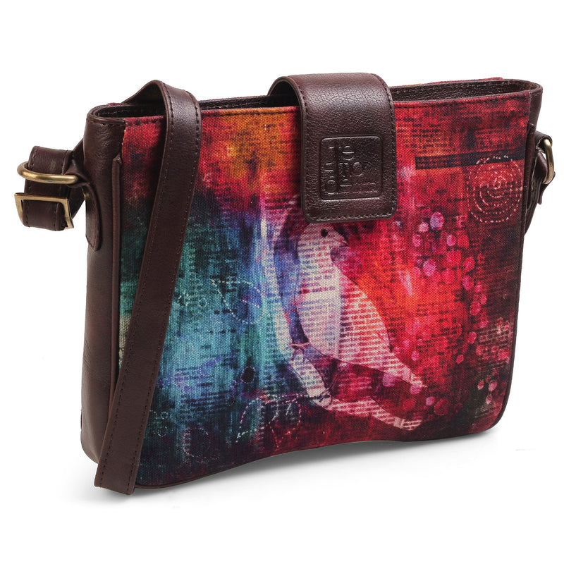 The Newsbird Sling Bag by Anjali Minrai for Tresmode - Newsbird Print Canvas Sling Bag - Tresmode