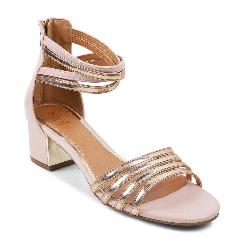 The Nimbus Tan - Tan block heel sandals withzip closure and rose gold straps - Tresmode