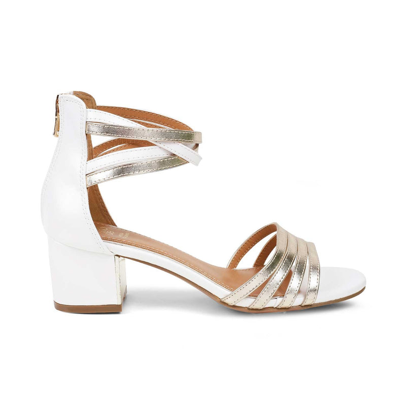 The Nimbus White - White block heel sandals with zip closure - Tresmode