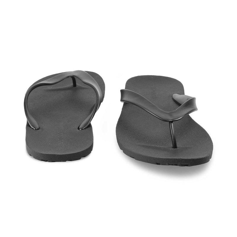 The Riviera BlackBlack rubber flip flops for men - Tresmode