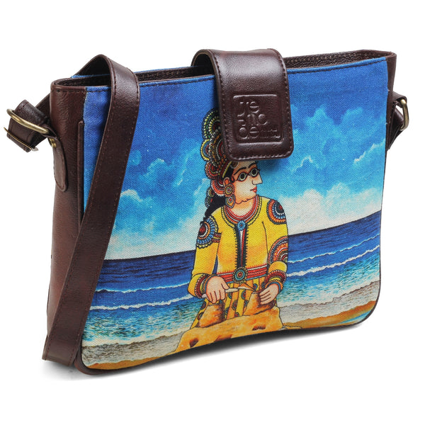 The Sandcastle Sling Bag by Anjali Minrai for Tresmode - Sandcastle Print Canvas Sling Bag - Tresmode