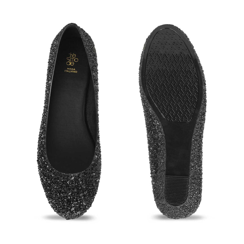 The Sentosa Black - Wedge heel Ballerinas - Tresmode