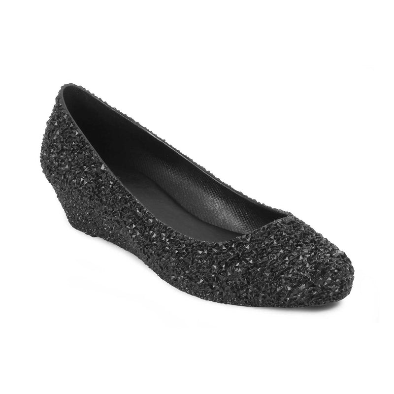 The Sentosa Black Wedge heel Ballerinas