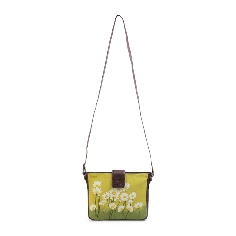 The Daisy Sling Bag by Anjali Minrai for Tresmode - Daisy Print Canvas Sling Bag - Tresmode