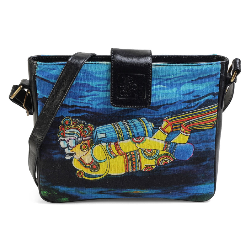 The Diver Sling Bag by Anjali Minrai for Tresmode - Diver Print Canvas Sling Bag - Tresmode